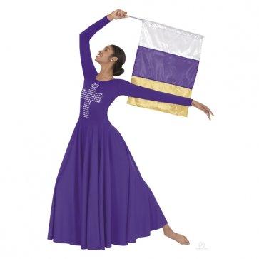 Cross Liturgical Dance Dress - Adult Purple/Silver