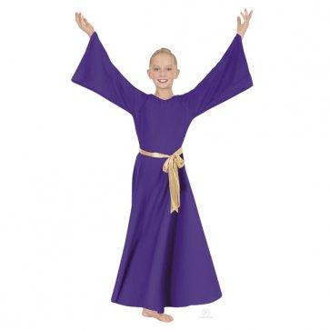 Child Purple Angel Sleeve Worship Dance Dress