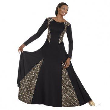 Royalty Praise Dress - Black/Gold