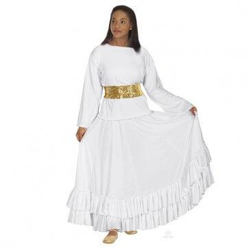 White Ruffled Praise Dance Skirt